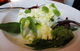 Frenchie Burrata with Pea and Mint Puree